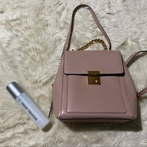 Michael Kors pink leather / gold backpack